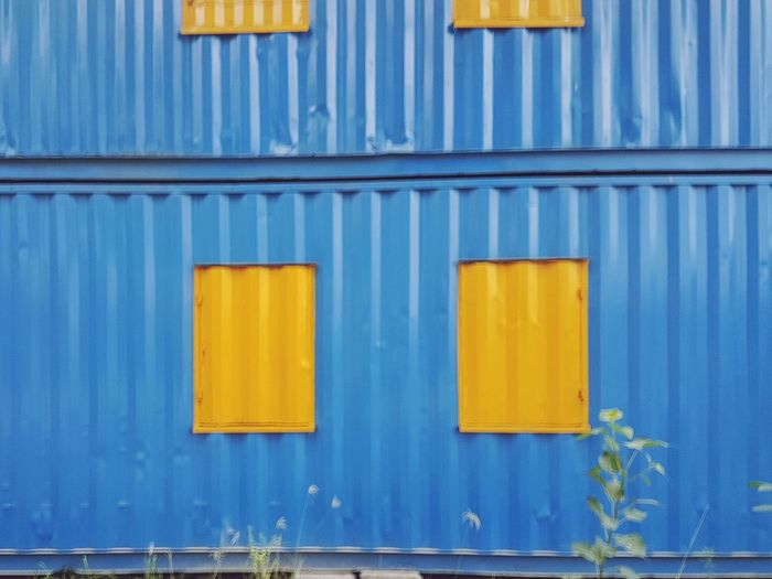 contractor room Contener Room Colorful EyeEm Selects Corrugated Iron Blue Yellow Backgrounds Full Frame Wood - Material Pattern Textured  Door Close-up