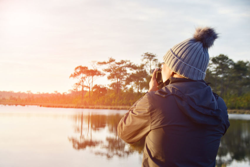 Adult Adults Only Day Lake Men Nature One Man Only One Person Only Men Outdoors People Rear View Sky Sunset Tree Water