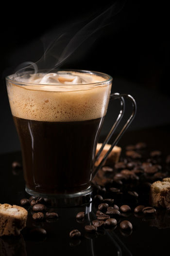 Coffee Food And Drink Black Background Brown Cantucci Cappuccino Close-up Coffee - Drink Coffee Cup Coffeebeans Dark Background Drink Drinking Glass Food And Drink Food Still Life Foodphotography Freshness Froth Art Indoors  Indoors  Latte Mocha No People Refreshment Studio Shot Table