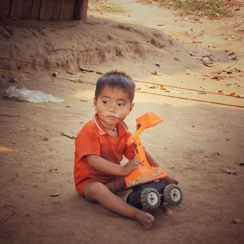 Boy Playing Outdoors Childhood LAO Native People Poor  Child