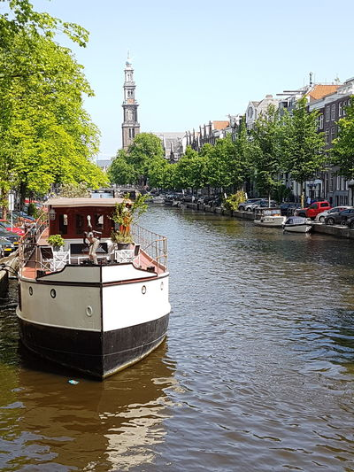 Canals And Waterways Canal Amsterdam Amsterdamcity Amsterdam Canal Postcard Picture Postcards Writing Postcards Water Nautical Vessel Tree Moored Sky Architecture River Boat Water Vehicle Mast Waterfront Riverbank