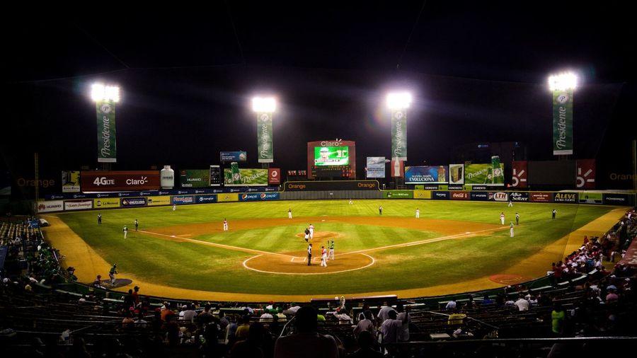 Baseball season Night Sport Stadium Green Color Baseball - Sport Outdoors Baseball Game Deporte Stockphoto Sellphotos Dominican Culture Dominican Republic Latin Caribbean Lifestyles