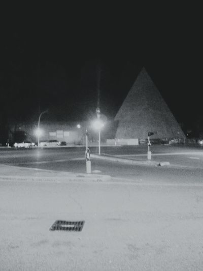 The Pyramid Of Cestius, Rome. · Pyramid Pyramids Architecture History Monuments Burial Chamber Black And White Night Photography