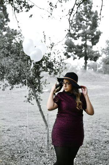 Outdoors Balloons Dress Hat Sun Bonnets Big Hat Color Splash Black And White Nature Trees Grass