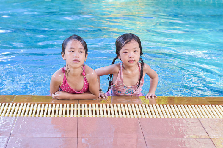 Portrait of a girl in swimming pool