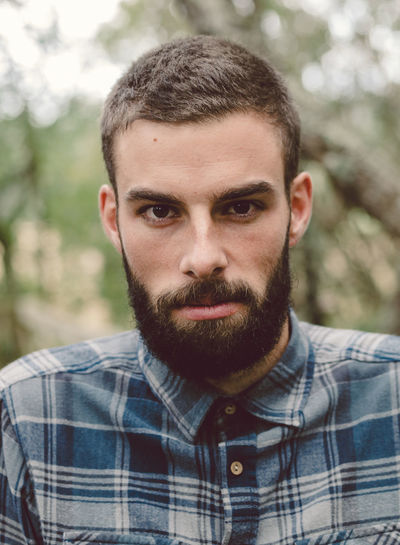 Close-up portrait of bearded man