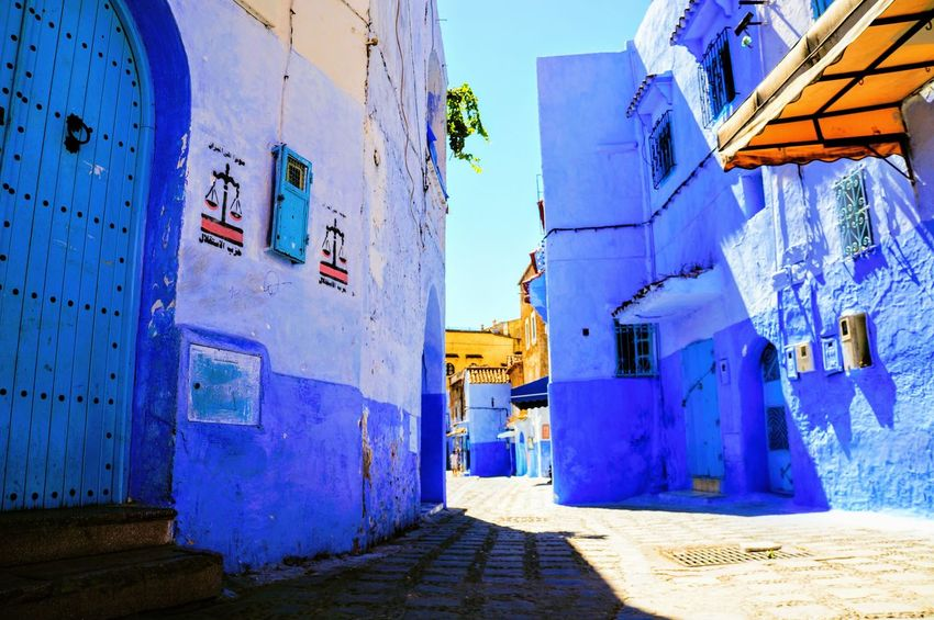 Beautiful City Morocco North Africa Road Sightseeing Travel View Vivid Africa Blue Building Chaouen Chefchaouen Color Fancy Historical Outdoors Town Traditional Vacation World