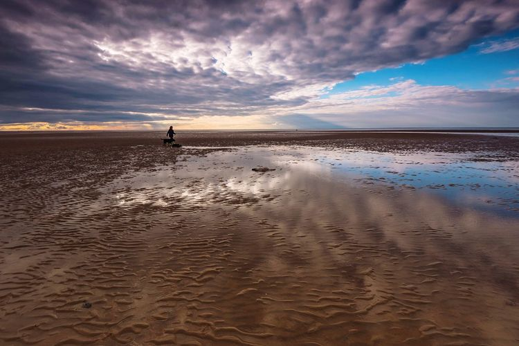 Ripples & Fluffy Norfolk Beach Reflections Ripples Sand Ripples Sand Patterns Hunstanton Old Hunstanton Seaside The Great Outdoors - 2018 EyeEm Awards Coastal Great Britain Landscape Clouds And Sky By The Sea Beach Life People On The Beach Sky Water Cloud - Sky Land Beach Sea Scenics - Nature Sand Horizon Horizon Over Water Unrecognizable Person Idyllic Reflection