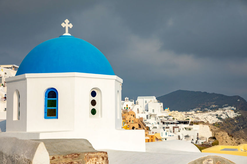 Greece Santorini Oia Thira Architecture Building Exterior Built Structure Religion Belief Place Of Worship Spirituality Dome Building Sky Cloud - Sky Nature Cross Day No People The Past Travel Destinations Outdoors