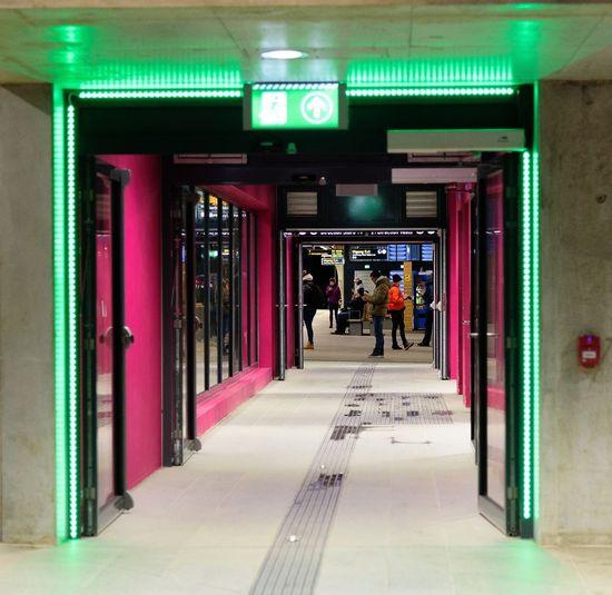 Entrance to the escalator at Løren metro Nikkor24-120mmf4 #ruter #NikonD750 #sporveien #løren #Oslo Illuminated The Way Forward Real People Indoors  Men Architecture Day