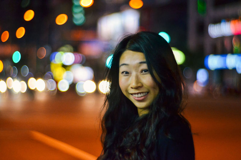 Bokeh City City Life Cityscapes Headshot Illuminated Life In Motion Lifestyle Lifestyles Looking At Camera Portrait Smiling Taipei Young Adult Young Women Petzval Lens Ximending Neon Life