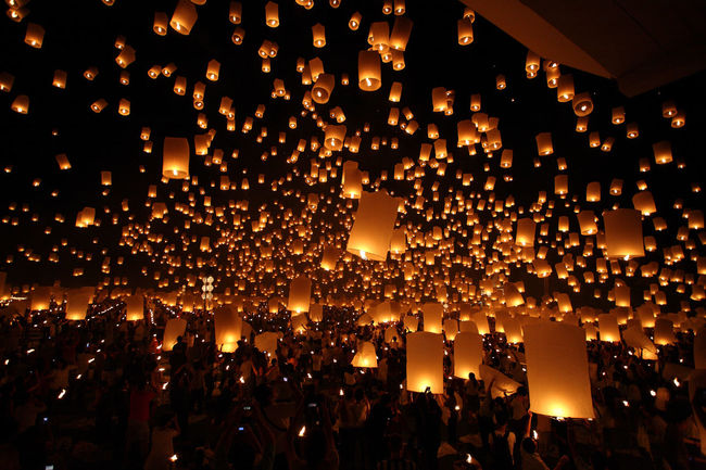 Lantern Thai Thaialand Yee Peng Festival Celebration Illuminated Indoors  Lantern Large Group Of Objects Mid-air Night No People Orange Color Sky Sunset Yeepeng