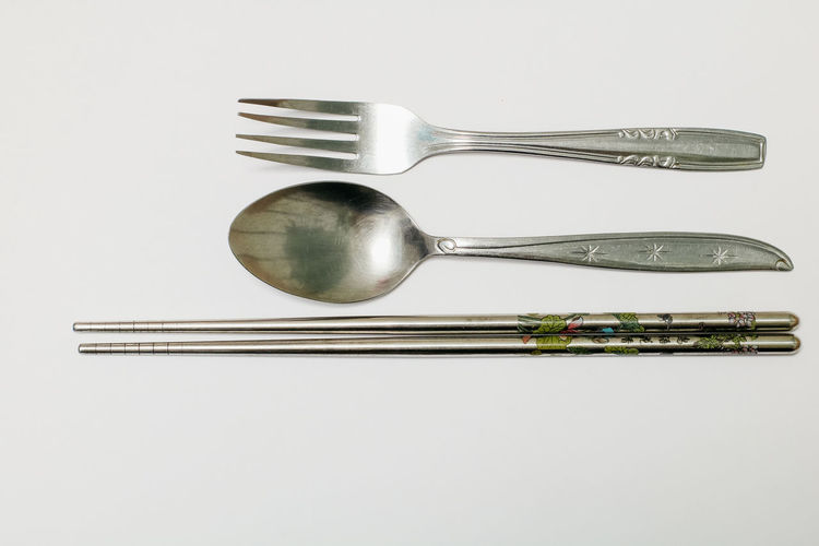 Studio Shot White Background Metal Eating Utensil Silver Colored Kitchen Utensil Indoors  Fork Still Life Household Equipment Spoon Steel Close-up Silver - Metal Knife Silverware  No People Stainless Steel  Table Knife Shiny Alloy Setting Crockery