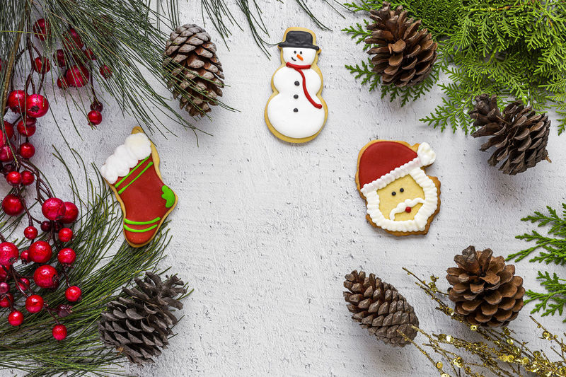 Animal Representation Celebration Christmas Christmas Decoration Christmas Ornament christmas tree Decoration Food Food And Drink High Angle View Holiday Holiday - Event Indoors  No People Pine Cone Representation Still Life Sweet Food Temptation Tree