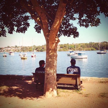 NSW fireys relax on a sunny Sydney morning at Iron Cove. Using ProCamera7 and VSCO cam apps and an iPhone5 camera. Relaxing People Watching Outdoors