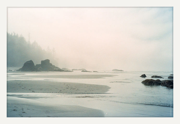 the thin veil Rollei 35 | Superia 800 Ruby Beach in the Olympic National Park 35mm Film Pacific Northwest  Rollei 35 Ruby Beach Beauty In Nature Film Photography Fog Kalaloch Outdoors Sea Sky Tranquility Water