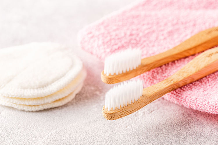 Close-up of toothbrush with napkin