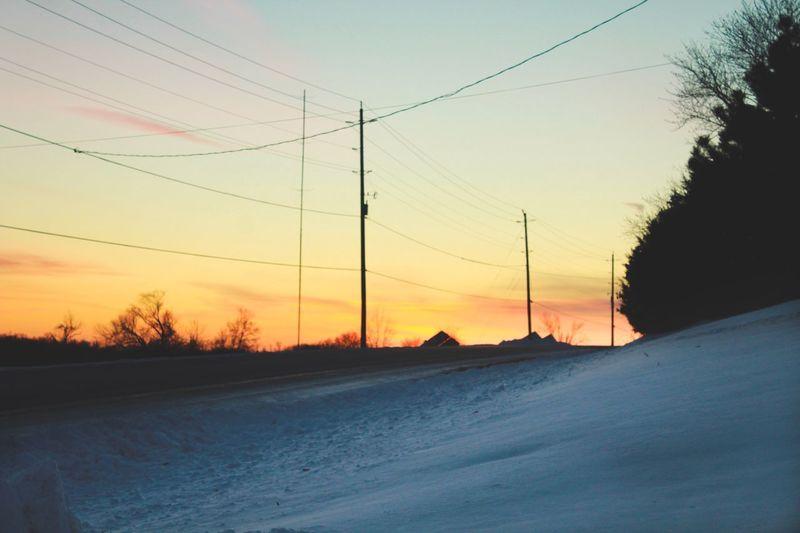 Cable Sunset Connection Power Line  Winter Nature Electricity Pylon No People Cold Temperature Snow Sky Road Scenics Landscape