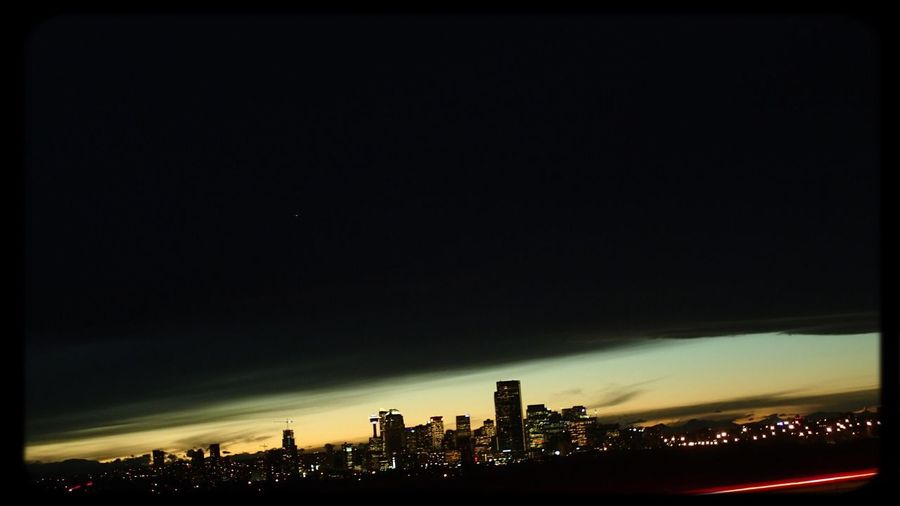 From The Bluffs at Samis Road. Down Town Calgary  Nightphotography Sunset Silhouettes Calgary Minimalism