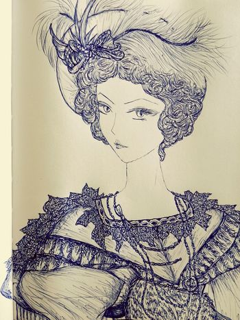 1835 Regency Drawings Elegance Everywhere Pen Drawing XIX Century Manga Style Fashion Manga Elegant Lady Dress Drawing Hat 1835 Big Hat