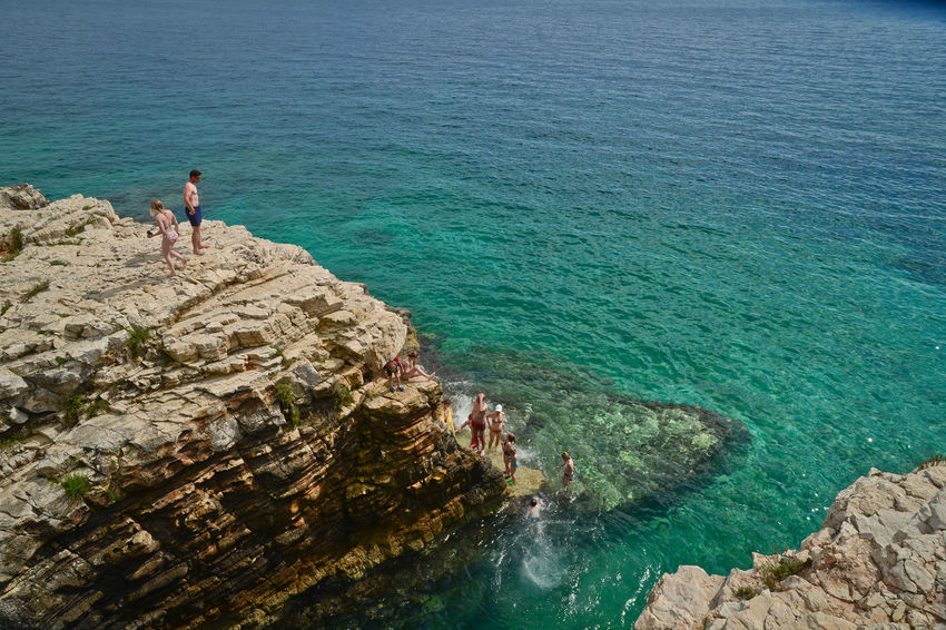 Adventure Beauty In Nature Blue Water Cliff Color Colorsplash Croatia Day Full Length Green Water High Angle View Horizon Over Water Istria Istria Summer Italy Kamenjak Leisure Activity Nature Pula Rock - Object Scenics Sea Summer Tranquility Water Live For The Story Sommergefühle