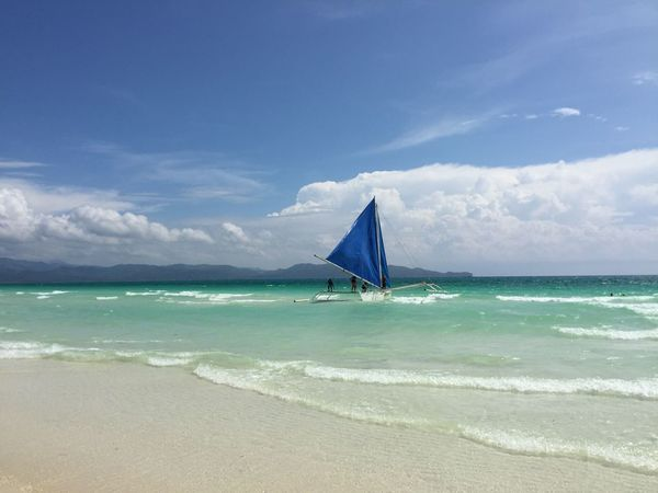 White Beach Boracay Island  Stunning Natural Colors Contrasting Blue Sail IPhoneography Unedited