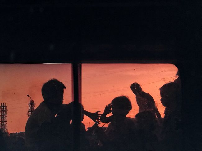 Silhouette People Togetherness Outdoors Friendship Kids Kids Being Kids Children Summertime Break The Mold Eyeem Philippines Frame Frame Within A Frame Sunset Window TCPM The Week On EyeEm The Street Photographer - 2017 EyeEm Awards The Photojournalist - 2017 EyeEm Awards BYOPaper! Live For The Story