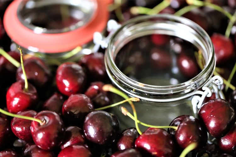 Close-up No People Cherry Ripe Freshness Wellbeing Fruit Food And Drink Healthy Eating Food Still Life Abundance Indoors  Table Selective Focus Large Group Of Objects Red Jar Container Glass - Material Transparent