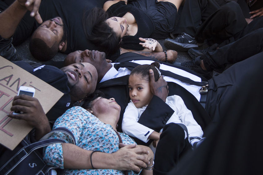 Grammy-Nominated singer, Tyrese Gibson (center) and his daughter join other protesters for a 'Die-In' during the 'Blackout Hollywood' protest, Dec. 6, 2014. Blackout Hollywood Celebrity Father Hollywood Los Angeles, California News Photojournalism Protest Tyrese  Rights