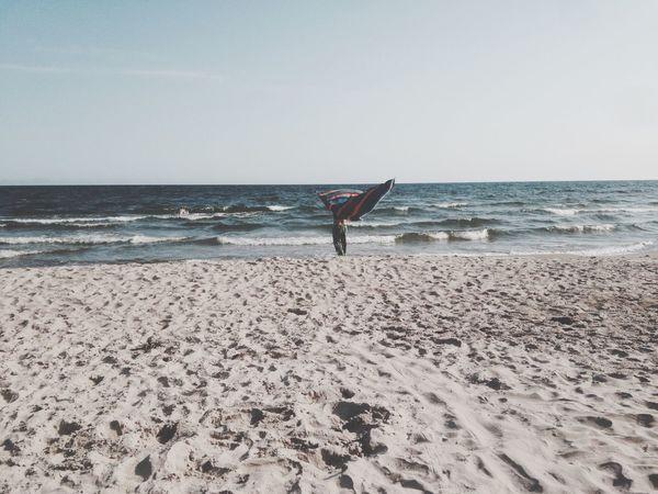 Ocean Beach Blanket Woman Wind