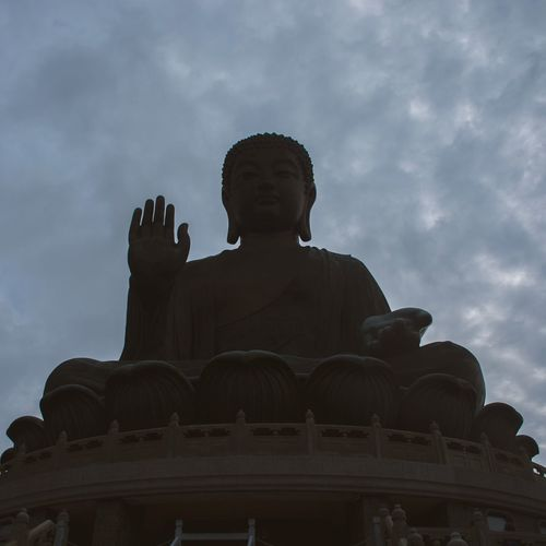 Statue Sculpture Low Angle View Human Representation Male Likeness Cloud - Sky Sky Spirituality Religion History Outdoors No People Built Structure Architecture Day