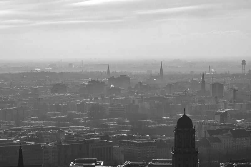 foggy panorama of Berlin Building Exterior Architecture Built Structure City Cityscape Building Sky High Angle View No People Travel Destinations Tower Nature Office Building Exterior Fog Day Residential District Skyscraper Outdoors Modern Financial District  Spire  Berlin