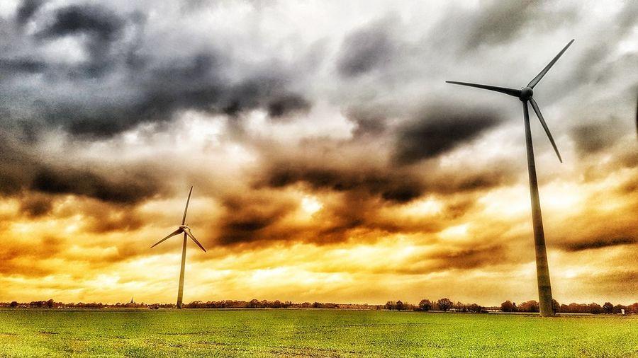 Windpark bei Kempen nachbearbeitet in HDR Kempen Windpark HDR Industrial Windmill Windmill Wind Turbine Traditional Windmill Wind Power Technology Rural Scene Alternative Energy Fuel And Power Generation Sunset Farmland