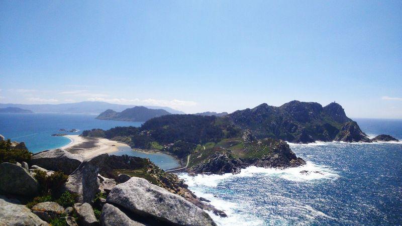 Nature Beach Islands Pontevedra Galicia Mountain View