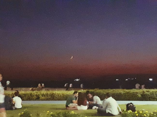 Outdoors New Moon Night Beach Silhouette Day Standing People Sky Summer Night Real People