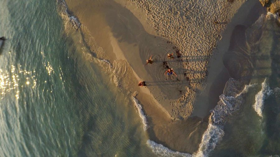 High angle view of friends enjoying at beach