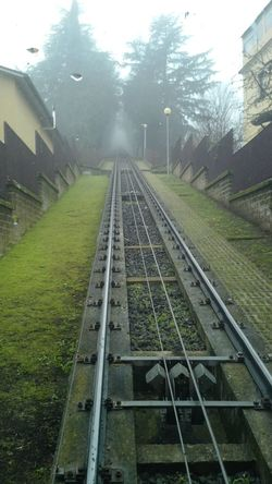 Morning in Orvieto. Funiculaire rail road. Funiculaire  Funicular Fog