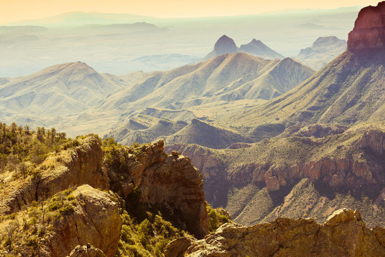 Landscape vista into Rio Grande valley from Chisos Mountain Range, Big Bend National Park, Texas, USA Mountain Scenics - Nature Beauty In Nature Mountain Range Tranquil Scene Non-urban Scene Tranquility Physical Geography Nature Landscape Geology No People Outdoors Mountain Peak Formation Arid Climate Chihuahuan Desert Chisos Mountains Desert Big Bend National Park Texas Epic Nature Wilderness Topography