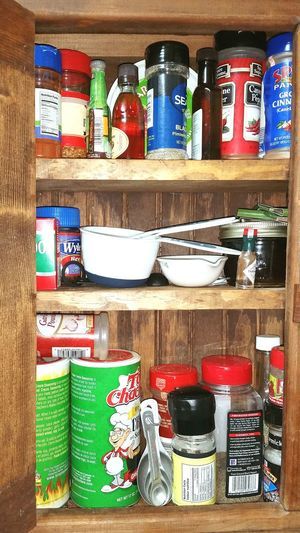 Everything In Its Place Spice Cabinet Salt Pepper CREOLE SPICE i use a lot of Cajun Season how we roll in the deep south Measuring Spoon Measuring Cups Sugar Spice Everything Is Nice baby Hot Sauce The Spice Of Life Organized Chaos The Essential Spices And Herbs Southern Ms USA Spice Rack