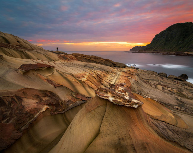 Magical sunrise at Nanya rock formations on the North coast of Taiwan near Keelung. Nature Ocean View Scenic Taiwan Travel Colorful Erosion Erosion Effects Geological Landmark Landscape Nanya Rock Rocks And Water Sandstone Sandstone Rock Formation Seascape Sky Sunrise Sunrise_sunsets_aroundworld Texture Travel Destinations Wallpaper Waves