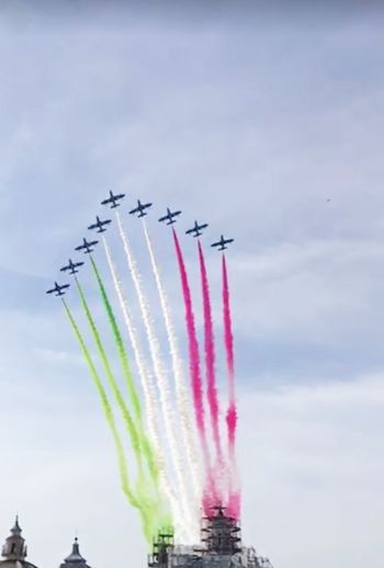 Airshow Formation Flying Low Angle View Speed Flying Military Airplane Air Vehicle Airplane Fighter Plane Frecce Tricolori Flags In The Wind  Bandiera Italiana Tricolore Frecce Tricolore Airshow Festa Della Repubblica Italiana Italy❤️ Multi Colored Italia 2 Giugno Day Rome Italy🇮🇹
