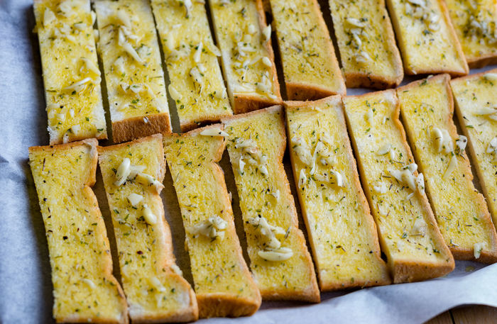 Arrangement Baking Sheet Baking Tray Butter Close-up Day Food Food And Drink Freshness Garlic Bread Indoors  No People Preparation  Ready-to-eat