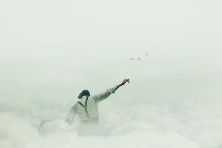 Up. Adult Clouds Concept Day Fantasy Flying Freedom Horizontal Mid-air One Man Only One Person Only Men Outdoors People Person Photoshop Sky Sky And Clouds Up
