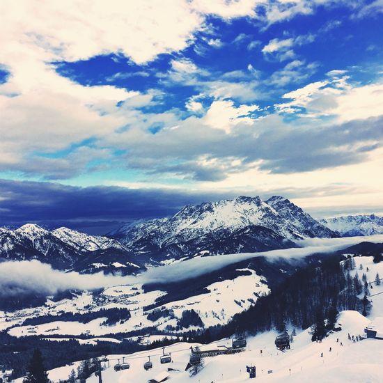 Saalbach Skifoan Ski Beauty In Nature Scenics Tranquil Scene Mountain Sky Outdoors Landscape Frozen Mountain Range