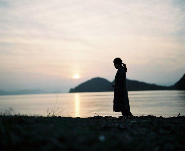 夕陽と海…私