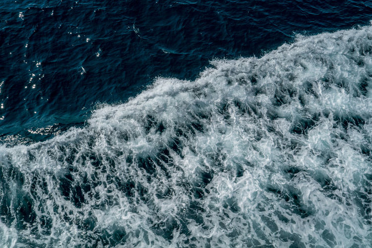 Nature Backgrounds Beauty In Nature Blue Day Full Frame High Angle View Motion Nature Nautical Vessel No People Ocean Ocean Photography Outdoors Sailing Sea Sea And Sky Speed Sport Wake - Water Water Wave Wave Pattern Waves, Ocean, Nature White Color