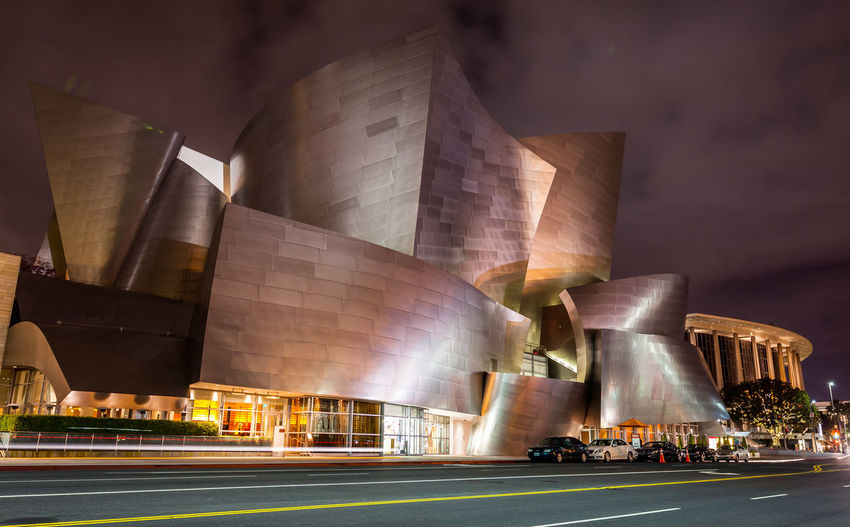 Disney Concert Hall in Downtown Los Angeles, California at night Walt Disney Concert Hall Sky Outdoors No People Night Illuminated Downtown District Disney Concert Hall Architecture Los Angeles, California Hdr_Collection HDR EyeEmNewHere EyeEm Ready   Disney City