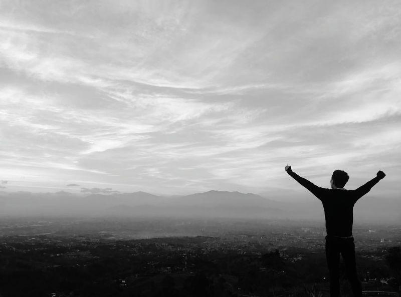 Bandung, Bukit Bintang Nature Photography INDONESIA Bandung, West Java Sunrise Bandung, Indonesia Bandungcity Bandungexplore Happiness Human Hand Forgiveness Silhouette Back Human Arm Smiling Spirituality Rear View Hand Raised Sky Only EyeEmNewHere My Best Travel Photo