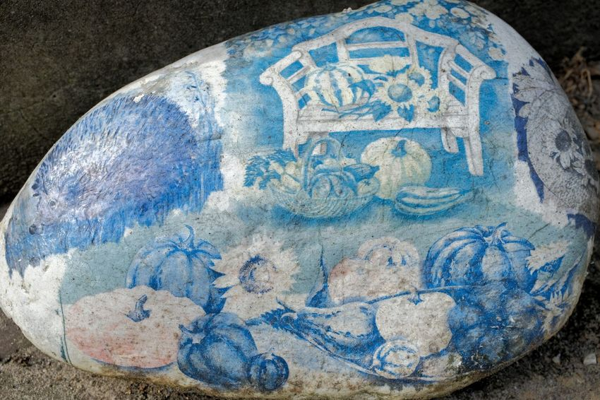 Painted stone Stone Stone Material Painting Painting Art Blue Stone Art Blue Close-up Information