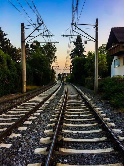 Train Europe Deutschland Track Railroad Track Rail Transportation Sky The Way Forward Transportation Direction Diminishing Perspective Nature Tree Plant No People Architecture Electricity  Built Structure Metal vanishing point Outdoors Day Cable